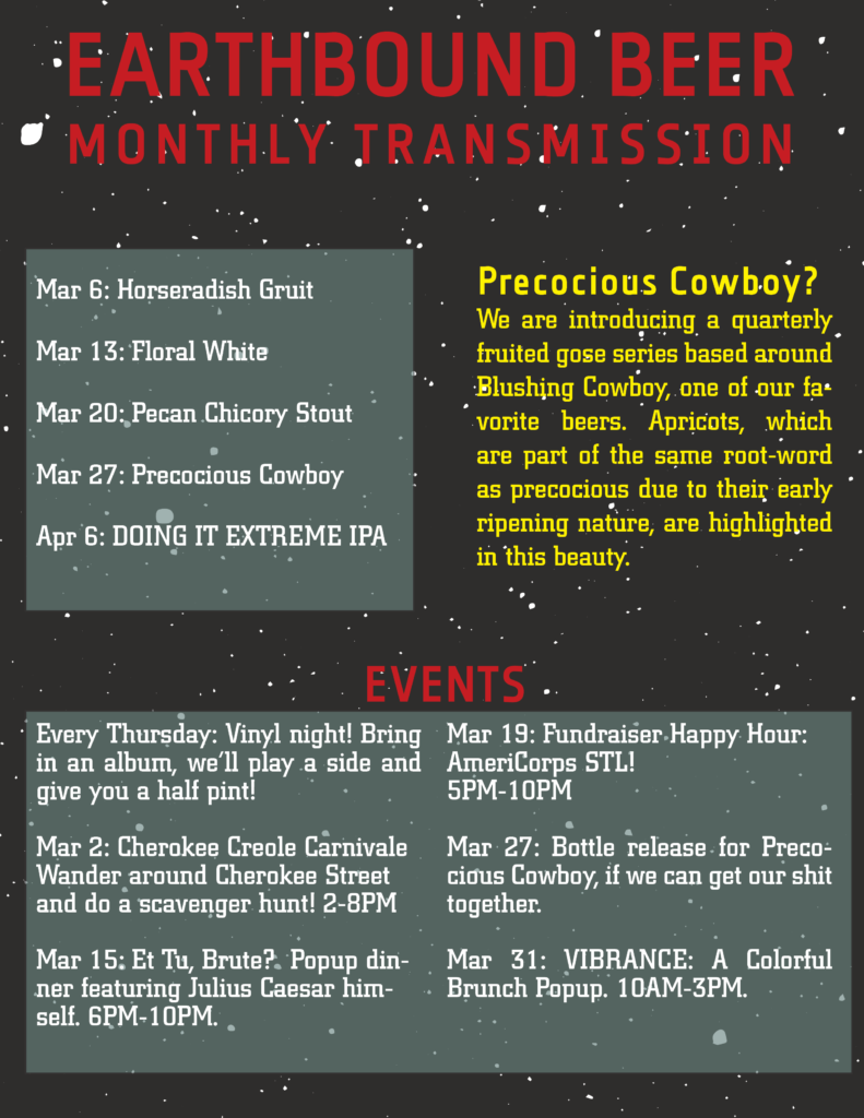 Monthly Transmission: March 2019 | Earthbound Beer
